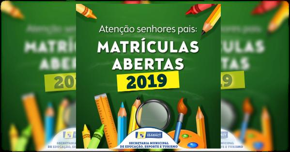 ABERTAS AS MATRÍCULAS PARA O ANO DE 2019.