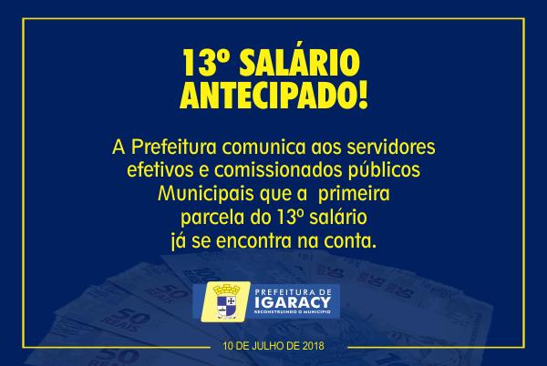 PREFEITURA DE IGARACY ANUNCIA PAGAMENTO DA PRIMEIRA PARCELA DO DÉCIMO TERCEIRO A TODOS OS FUNCIONÁRIOS